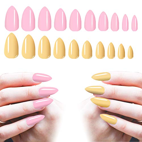 Almond Shaped Acrylic Nails Medium, 200PCS Cosics Solid Pink Stiletto Nails & Nude False Nails, Full Cover Pre-colored Press On Nails with Case, Glossy Fake Nail for Salon Women Nail Art DIY, Manicure