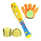 NUOBESTY 4pcs Kids Baseball Set Soft Ball with Bat Glove Baseball Tee Game Training Baseball Set Outdoor Sport Toys for Toddlers Kids (Assorted Color)