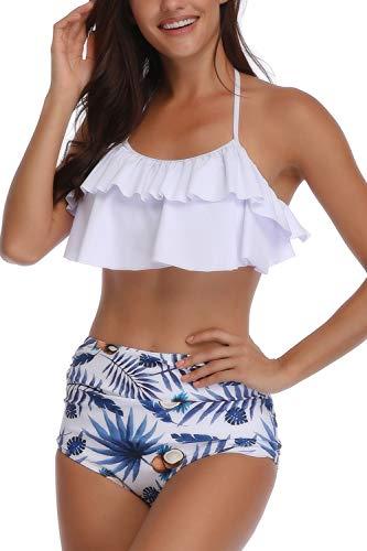 AMAGGIGO Damen Bikini-Set Gr. 38-40 , Blaue Blume