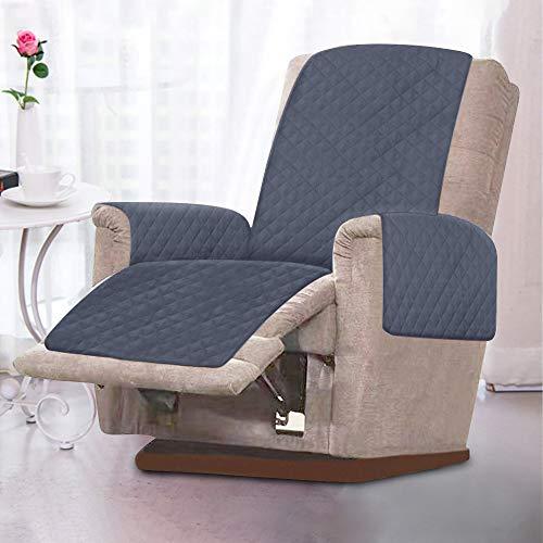 Sesselschoner, Sesselauflage, 1 Sitzer Sesselschutz Sofaüberwurf mit 2.5 cm Breiten Verstellbaren Trägern Weich,Temparaturausgleichen (grau)