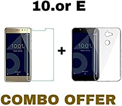 M.G.R.J Combo of Tempered Glass and Transparent Back Cover for 10.or E(Transparent)