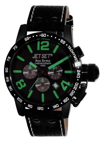 Jet Set j8358b-437Herren Uhr Chronograph Quarz mit Lederarmband, Schwarz