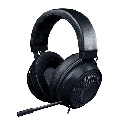 Razer Kraken Gaming-Headset: Leichter Aluminiumrahmen, einziehbares Mikrofon mit Geräuschisolierung, für PC, PS4, PS5, Switch, Xbox One, Xbox Series X & S, Handy, 3,5 mm Klinkenstecker, Schwarz