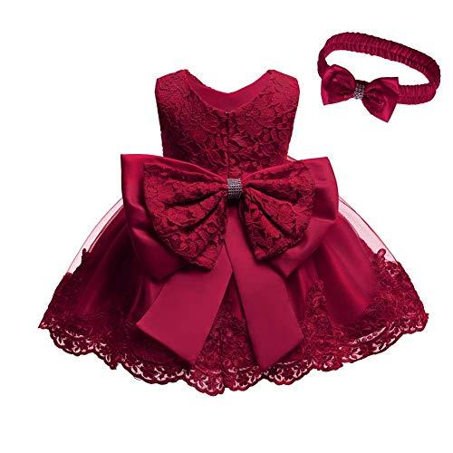 Baby Mädchen besticktes Bowknot Spitzenkleid Tüll Tutu Blume Prinzessin Festzug Brautjungfer Hochzeit Geburtstag Party Ärmelloses Kleid Baby Taufe Kleid + Stirnband Gr. 92, burgunderfarben