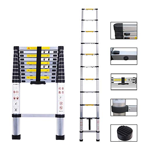 Telescoping Ladder Extension One-Button Inward Sliding Retraction Multi-Purpose Aluminum Telescopic Ladder with EN131 Certified (4.1M/13.5Ft)