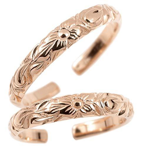 [アトラス]Atrus マリッジリング ハワイアンジュエリー 18金 ピンクゴールドk18 プルメリア スクロール 地金 ペア フリーサイズ 指輪 2本セット