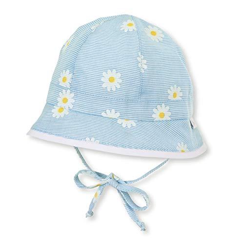 """Sterntaler - Mädchen Baby Sonnenhut mit LSF UV-Schutz 15 Fischerhut zum Binden mit Ohrenklappen """"Blumen/gestreift"""", himmelblau – 1402016, Größe 43"""