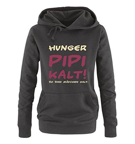 Comedy Shirts - Hunger PIPI kalt! So sind Mädchen Halt! - Damen Hoodie - Schwarz/Beige-Fuchsia Gr. XXL