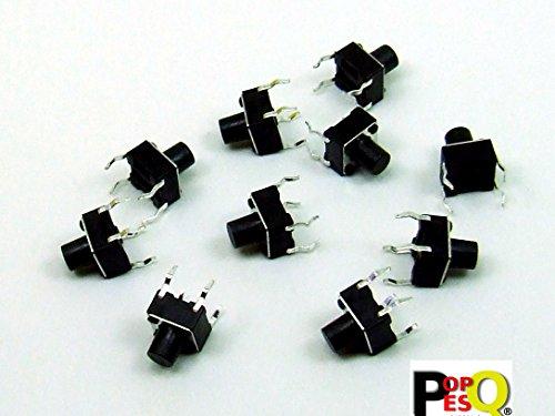 STK. 10 x Taster Tact Switch (6mm x 6mm) 7mm 4 polig/pin THT Rundkopf #A1822