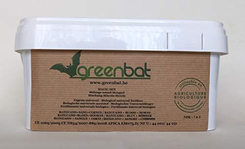 GREENBAT 1 kg polvere in secchio NPK 7-6-3 Miscela di fertilizzanti biologici di guano di pipistrello, farina di sangue e corna di bovino.
