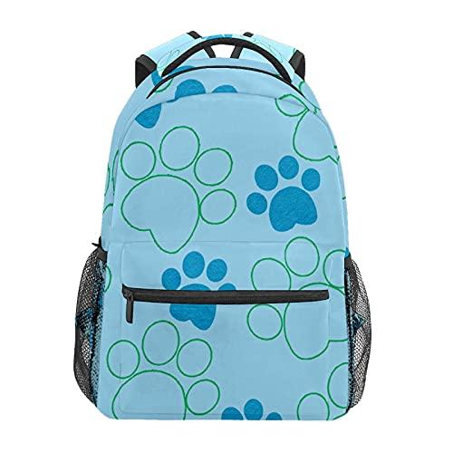 Blu Verde Carino Cucciolo Cane Zampa Zainetto Scuola College Viaggi Escursionismo Moda Laptop Zaino per Donne Uomini Teen Casual Borse di Tela