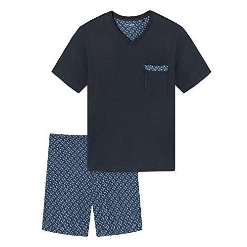 Schiesser Herren V-Ausschnitt Pyjamaset, dunkelblau, 50