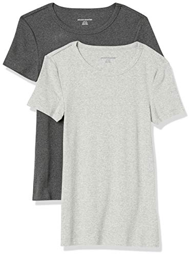 Amazon Essentials 2-Pack Slim-Fit Short-Sleeve Crewneck T-Shirt, Charbon Chiné/Gris Clair Chiné, M