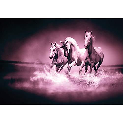 Carta da parati in tessuto non tessuto Premium Plus parete Foto Carta da Parete in tessuto non tessuto carta da parati–Unicorni cavallo acqua acqua muffa rennpferd–No. 1017, Viola, 200x140cm Vlies