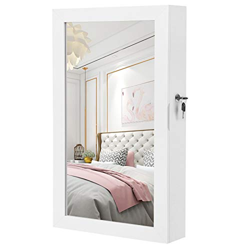 SONGMICS Hängend Schmuckschrank Wandspiegel zum Hängen mit Tür und Magnetverschluss 67x37x10,5 cm Weiß JBC51W