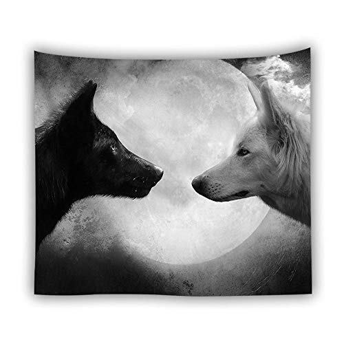 XIAOBAOZIGT Tapiz De Pared Grande,Arte 3D Gran Tapiz Psicodélico Bohemio Hippie Paisaje Animal Lobo Blanco Y Negro Bajo La Luna Colgada De Tela-Gt727086-Tapiz Dormitorio Sala Playa Cojín-90×75Cm