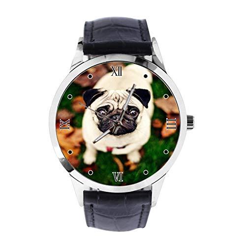 Reloj de pulsera analógico de cuarzo con correa de piel para niñas y niños