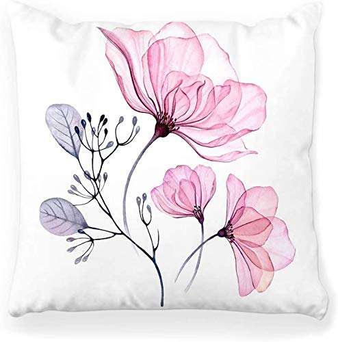 Funda de almohada decorativa cuadrada 16x16 Conjunto floral transparente Hojas de color rosa Pastel Gris Violeta Púrpura Adorno vintage Boda Decoración para el hogar Funda de almohada con cremallera