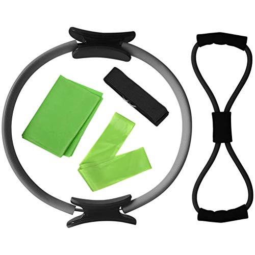 KUTO 5Pcs / Set Conjunto de Equipos de Yoga, Anillo de Pilates Banda de Estiramiento de Yoga Banda de Bucle de Resistencia Figura 8 Correa de Ejercicio de Banda de Resistencia, Plata