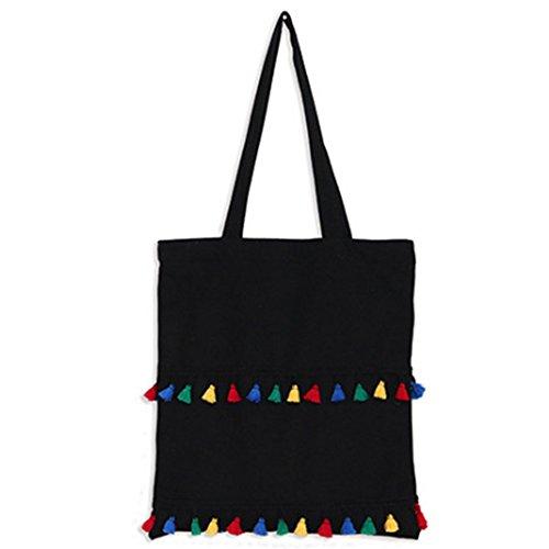 WeiMar Ladies Plain Canvas Bag Eco-Friendly riutilizzabile in cotone Tote Shopping Bag Borsa da spiaggia scuola di vacanza, Nero,36 * 40 cm