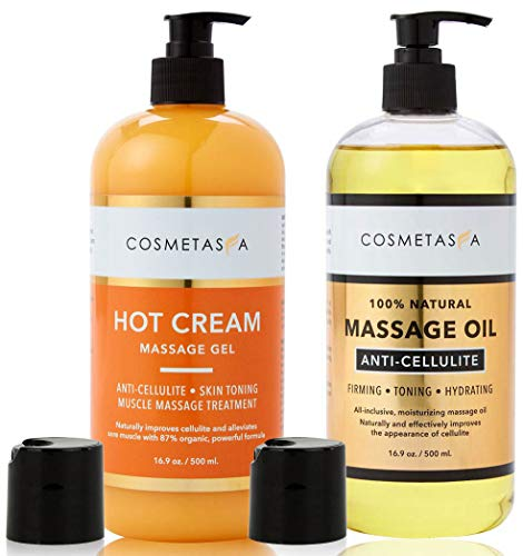 Anti-Cellulite Massage Oil & Hot Cream - 100% Natural Cellulite Treatment with Gel & Oil, Assists in Breaking Down Fat Tissue - Firm, Tone, Tighten & Moisturize Skin - Muscle Pain Relief (16.9 oz)