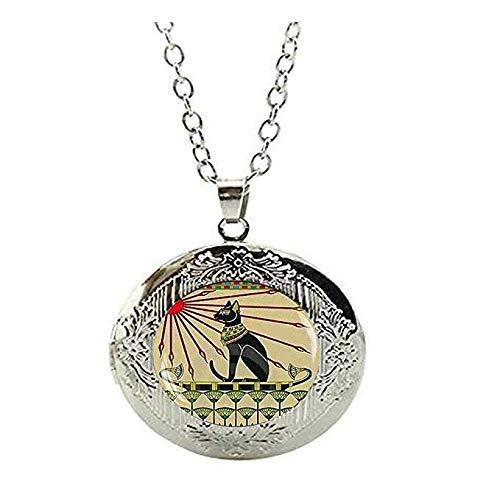 ägyptischer Katzen-Schmuck, Jugendstil Katzen-Schmuck, Göttin Bastet Halskette, ägyptischer Katzen-Schmuck