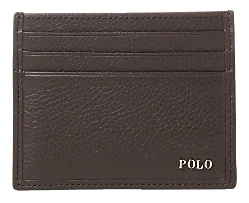 Polo Ralph Lauren Men's Leather Slim Front Pocket Card Case Wallet Brown Small