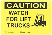 """Master Lock S9650 10"""" Width x 7"""" Height Polypropylene, Black on Yellow Safety Sign, Header """"Caution"""", Legend """"Watch For Lift Trucks"""" (with Picto)"""