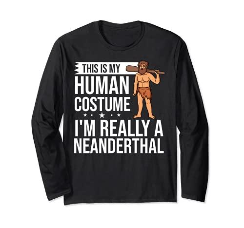 Neanderthal Caveman Regalo Dna Mujer Calavera Manga Larga