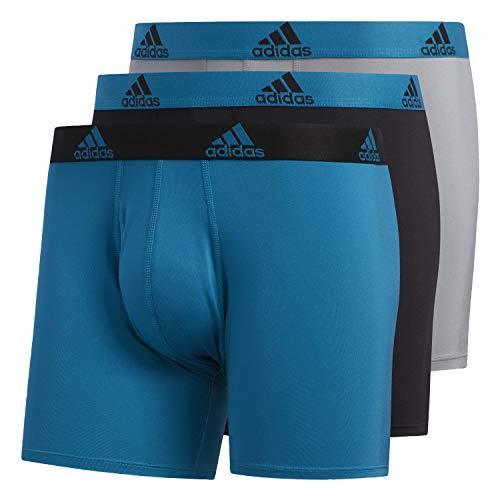 adidas Men's Performance Boxer Briefs Underwear (3-pack), Active Teal/Black | Black/Active Teal | Onix/Active Teal, Large