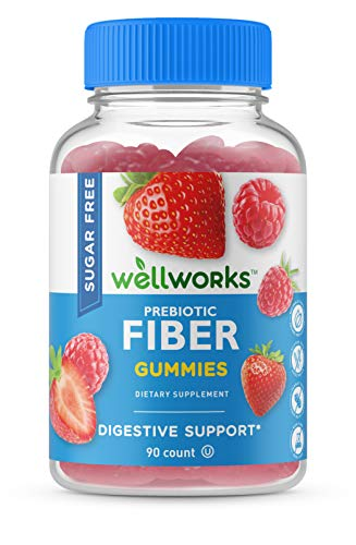 WellWorks Sugar Free Prebiotic Fiber for Adults – 4g – Great Tasting Natural Flavored Gummy – Keto Friendly – Gluten Free, Vegetarian, GMO Free Chewable – 90 Gummies – 45 Doses