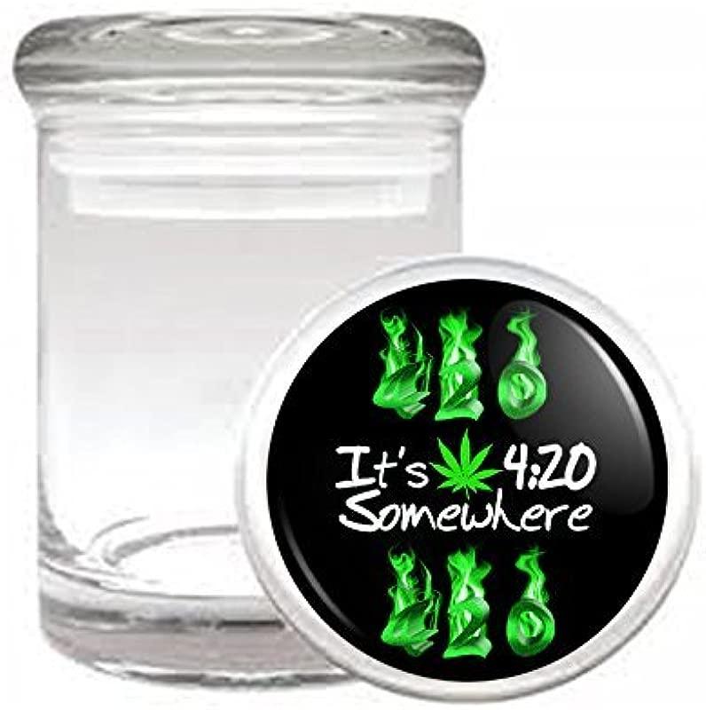 Medical Glass Stash Jar Vintage Marijuana Art S4 Air Tight Lid 3 X 2 Small Storage Herbs Spices 420 Weed