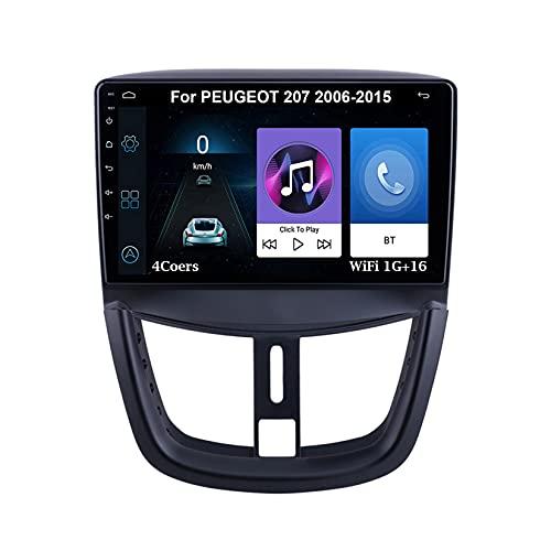 Android 10 Autoradio 9 Pulgadas Coche Radio De Coche Pantalla Tactil Para PEUGEOT 207 2006-2015 Con Pantalla Coche Conecta Y Reproduce Bluetooth Video SWC Cámara Trasera (Color : 4Cores WiFi 1G16G)