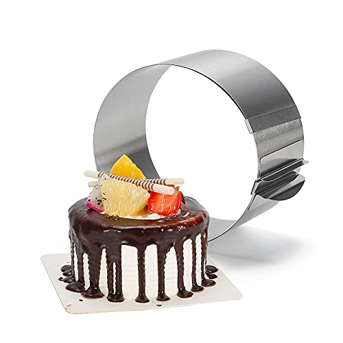 Multipurpose Round Steel Ring, Adjustable Cake Mold Ring for Baking, Premium Quality Functional Baking Gifts, 1 Ring 6.25-12 Inches - ZenCulinary
