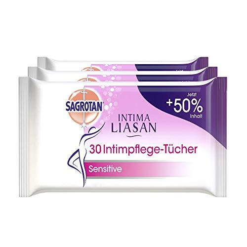 Intima Liasan by Sagrotan Intimpflege-Tücher Sensitive – Reinigende Feuchttücher für die tägliche Intim-Hygiene – Seifenfrei, Alkoholfrei und 100% biologisch abbaubar – 3 x 30 Stück