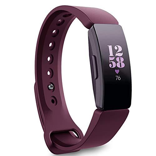 Onedream Compatible para Fitbit Inspire HR Correas/Inspire Correa/Inspire 2 Pulsera/Ace 2 Strap Vino Mujer Hombre Band (sin Reloj),S