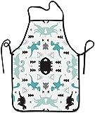Donne Uomini Divertenti Grembiuli Poliestere Bavaglino Grembiule Cucina Grembiule da Cuoco per cucinare Cottura BBQ Pittura, Divertente Dinosauro Set Bianco, S
