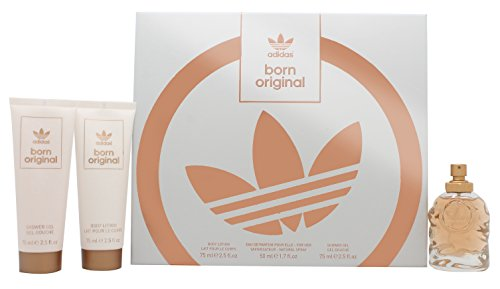 Adidas Born Original für Frauen, Eau de Parfum Spray, body lotion und Shower Gel, 50 ml/75 ml/75 ml
