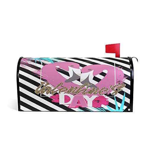 Saint-Valentin Flamingo Boîte aux Lettres Coque météo magnétique Fade/résistant aux intempéries Bird Noir Blanc rayé décoratifs Boîte aux Lettres Wrap 64.7 * 52.8 cm 52.6 * 45.8cm Multicolore