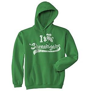 I Clover Shenanigans Hoodie Funny St Saint Patricks Day SweatShirt Novelty Shirt (Green) - S