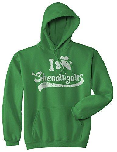 I Clover Shenanigans Hoodie Funny St Saint Patricks Day Sweatshirt Novelty Shirt (Green) - M