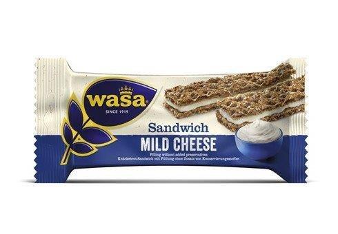 24 Riegel Wasa Sandwich Käse 37g / Roggen Knäckebrot Riegel mit einer Füllung mit Käsegeschmack