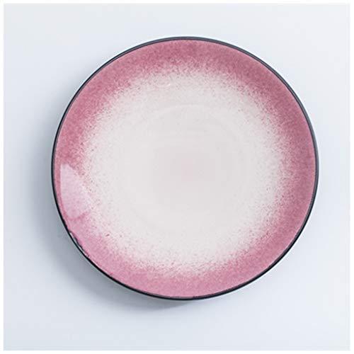 CJW Assiette nordique à la mode créative - Assiette à steak Western Home Violet/poudre (Color : Pink, Taille : 20cm)