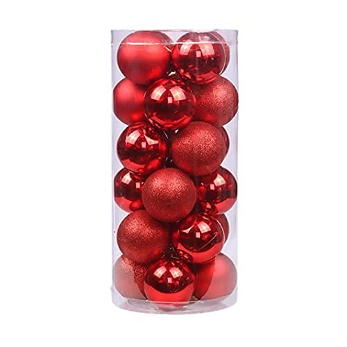 fregthf Chucherías de Las Bolas del árbol de Navidad Ornamentos Colgantes Brillo Rojo para la decoración 24PCS