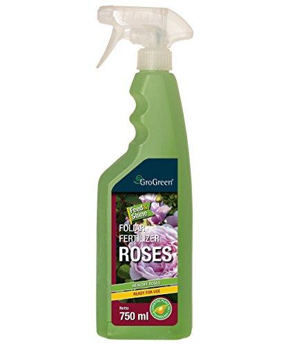GroGreen Feed & Shine rosas 750 ml listo para usar, pulverizador. Rosas fertilizantes líquidos, Use menos fungicida o spray fungoso para rosas, disfrute de rosas sanas y bien alimentadas