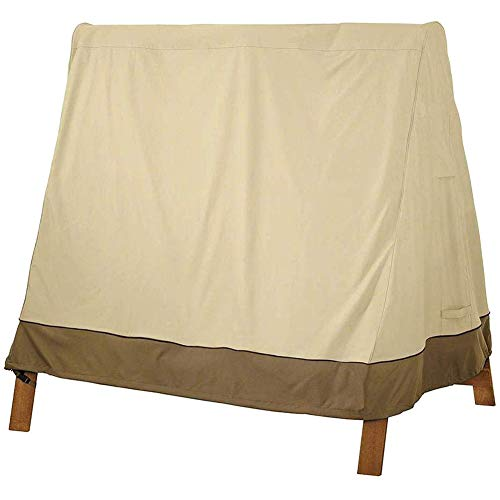 LDIW Schutzhülle für Hollywoodschaukel 3 Sitzer, Abdeckung für Gartenschaukel Wasserdicht Staub UV-beständiger Schutz, Beige Kaffee 182x139x170 cm,210DOxfordcloth