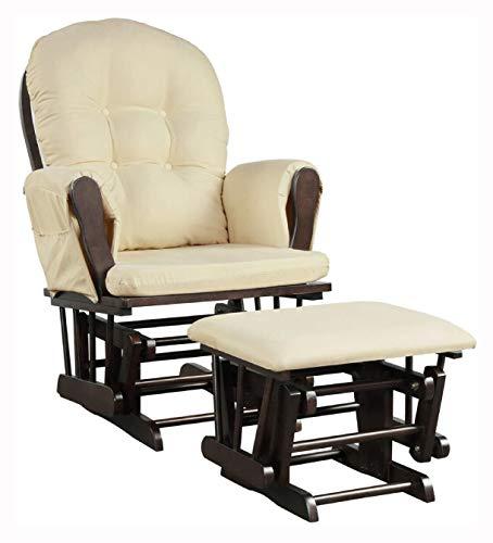 HomyDelight Rocking Chair, Baby Nursery Relax Rocker Rocking Chair Glider & Ottoman Set, Brown