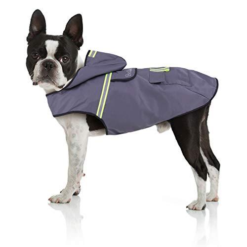 Bella & Balu Imperméable pour chien - Veste de pluie avec capuchon et réflecteurs pour les promenades en toute sécurité et au sec pour votre chien (S | Gris)