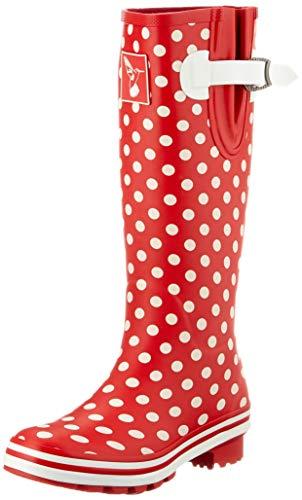 Evercreatures Damen Polka Dot Tall Gummistiefel, Rot mit weißen Punkten, 40 EU