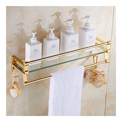 Badezimmer Regal Europäische Art-goldenes Badezimmer Regal Glas einschichtige Jade WC Halter-Badezimmer-Tuch-Zahnstange (Größe: 40cm) AQUILA1125 (Size : 40cm)